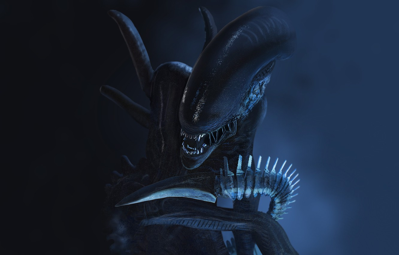 Photo wallpaper fear, monster, Stranger, mouth, fangs, alien, horror, Alien, in the dark, eater, by Thomas
