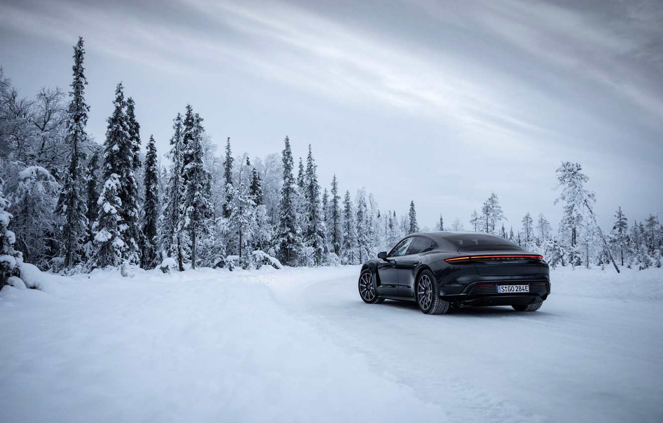 Photo wallpaper winter, road, forest, snow, black, Porsche, 2020, Taycan, Taycan 4S