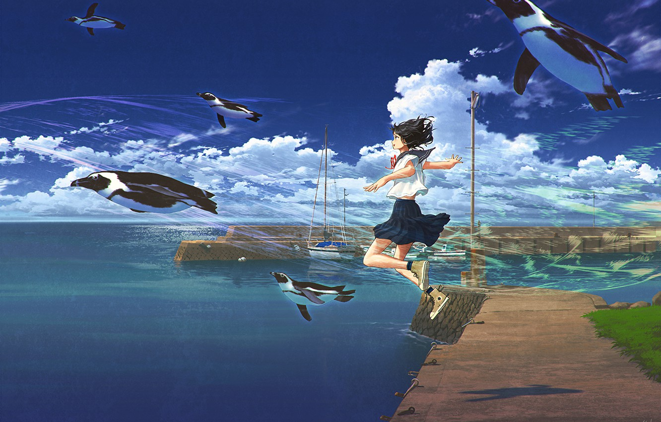 Photo wallpaper sea, the sky, girl, penguins