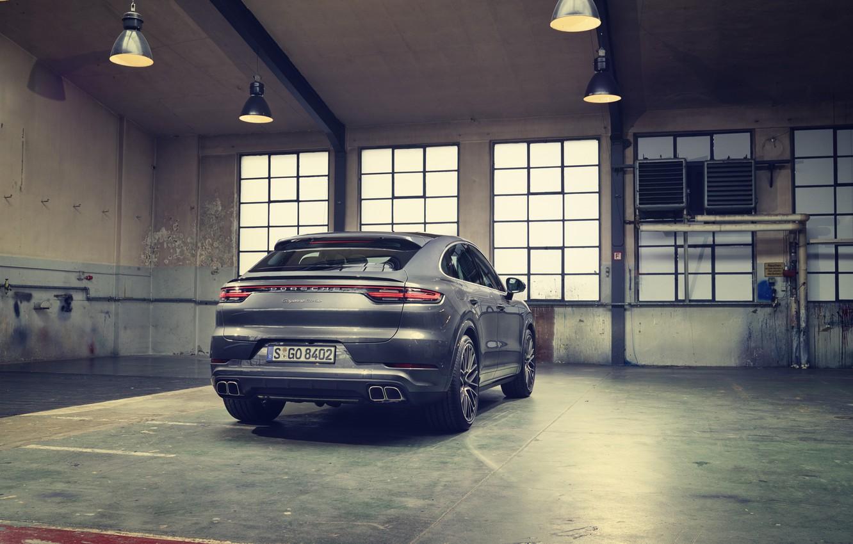 Photo wallpaper Porsche, Grey, Coupe, Coupe, Rear view, Back, Cut, Cayenne Turbo, 2019