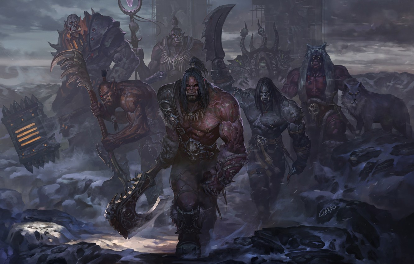 Wallpaper Wow Fantasy Orc Orc Fiction Warlock World Of