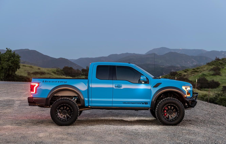 Photo wallpaper Ford, side view, Raptor, pickup, F-150, Hennessey, 2019, VelociRaptor V8