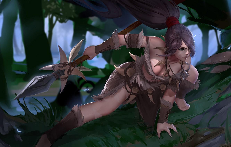 Photo wallpaper forest, girl, hunting, Spear