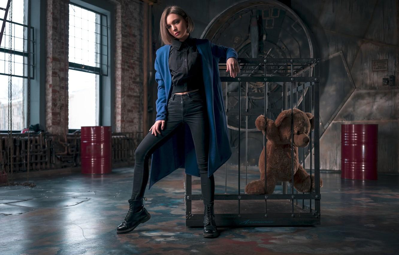 Photo wallpaper girl, pose, the situation, cell, bear, barrels, Teddy bear, Denis Antipin, Kristina Rybaltchenko