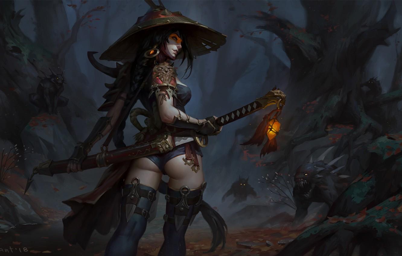 Photo wallpaper Girl, Figure, Sword, Demons, Art, Art, Hunter, Katana, hunter, Demon, Demon hunter, The demon hunter, …