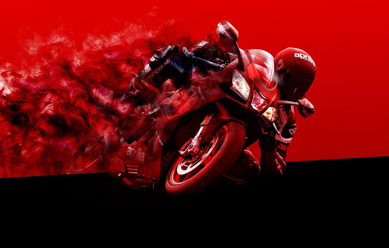 Photo wallpaper red, black, moto, Aprilia, bike, smoke, racer, motocycle