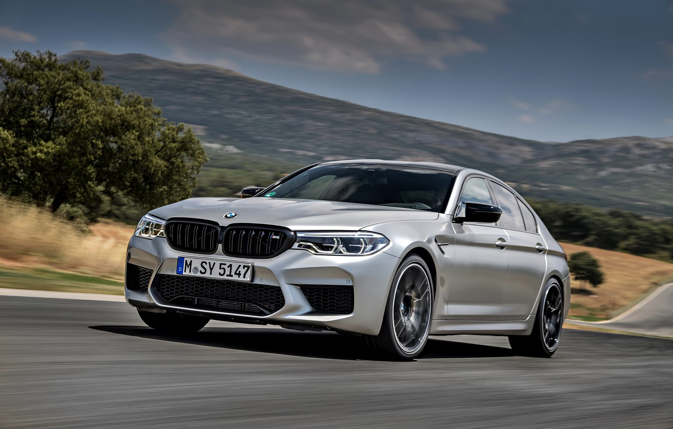 Photo wallpaper mountains, grey, BMW, valley, sedan, track, 4x4, 2018, four-door, M5, V8, F90, M5 Competition