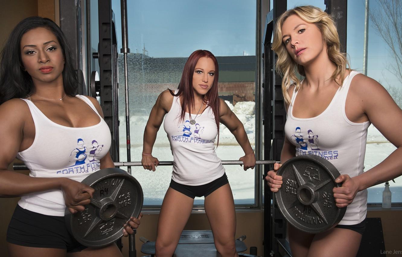 Photo wallpaper pose, fitness, gym, trio