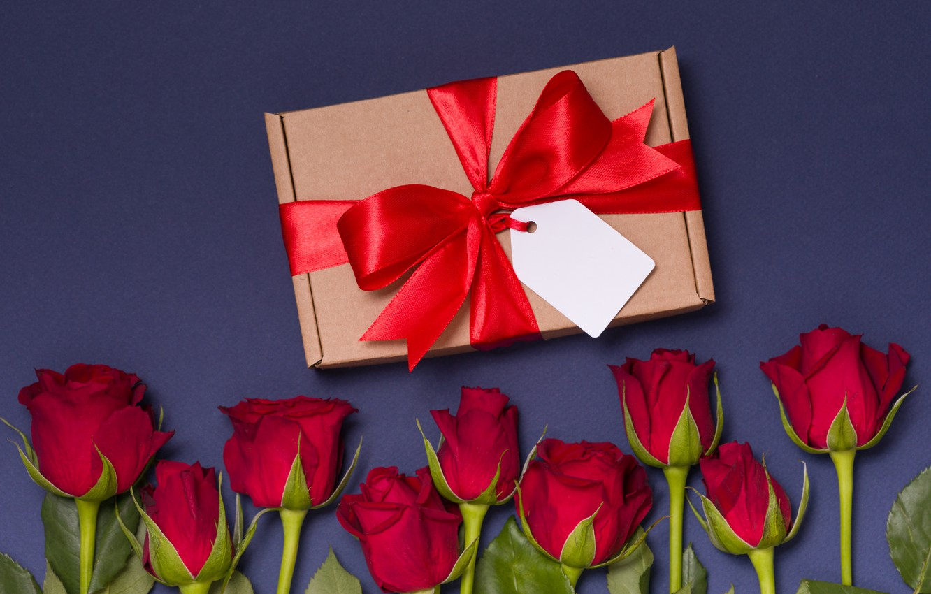 Photo wallpaper love, gift, roses, bouquet, red, red, love, flowers, romantic, valentine's day, roses, gift box