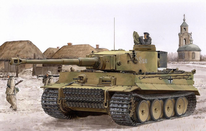 Photo wallpaper Tiger, Church, Tank, Heavy Tank, Panzerwaffe, Pz.VI, Tanker, Pz.Kpfw.VI Ausf.E Tiger, Pantsergrenadery