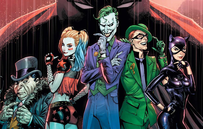 Photo wallpaper fantasy, Batman, rain, Joker, comics, artwork, mask, Riddler, superheroes, costume, fantasy art, DC Comics, Catwoman, …