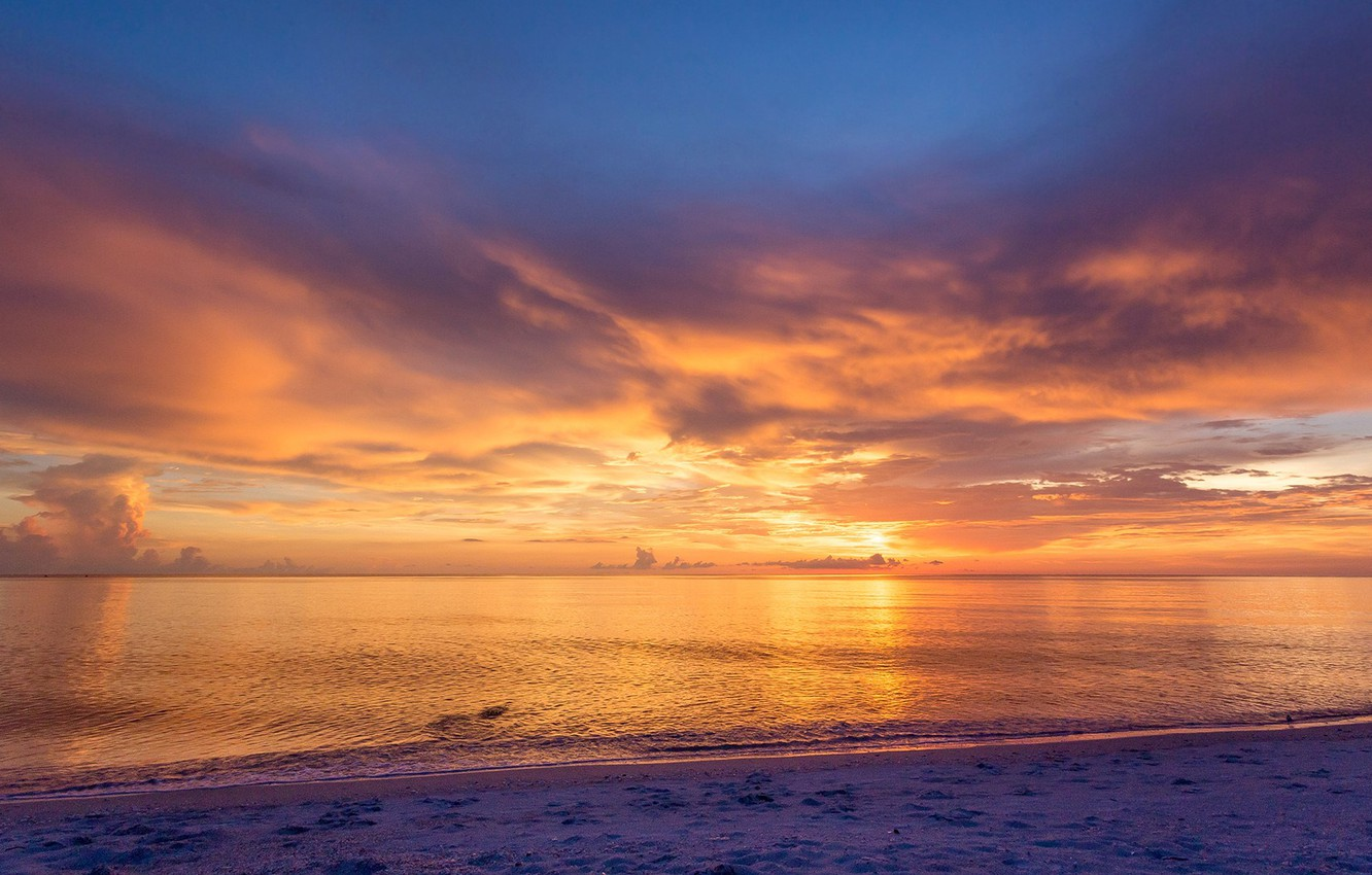 Photo wallpaper USA, beach, twilight, sky, sea, landscape, nature, sunset, water, clouds, sand, Florida