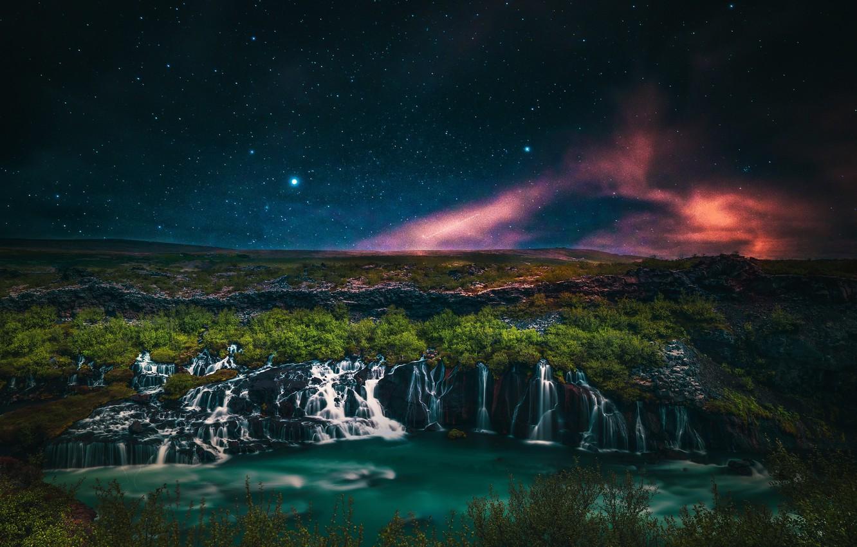 Photo wallpaper stars, landscape, mountains, night, branches, nature, lake, darkness, rocks, hills, shore, vegetation, waterfall, beauty, stream, …