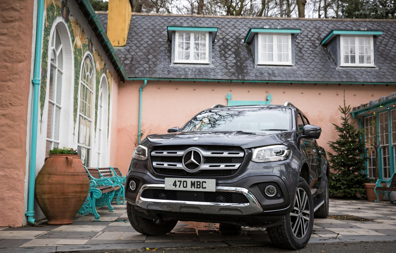 Photo wallpaper Mercedes-Benz, pickup, 2017, the house, X-Class, dark gray, UK-version
