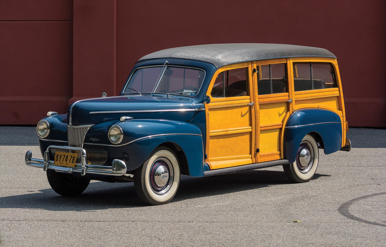 Photo wallpaper auto, retro, Ford, 1941, V8, Super Deluxe Station Wagon