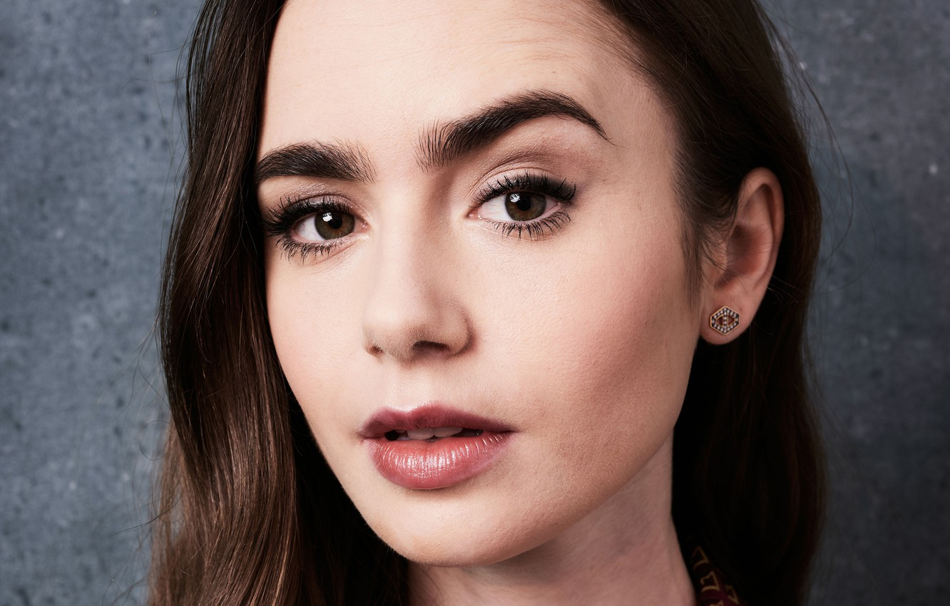 Photo wallpaper eyes, look, girl, face, makeup, Lily Collins