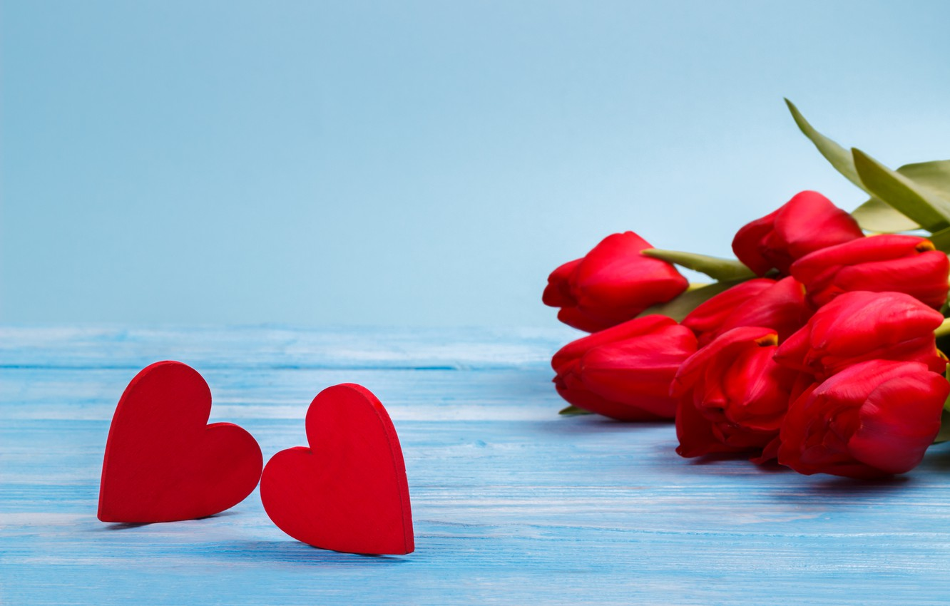 Photo wallpaper love, flowers, bouquet, hearts, tulips, red, red, love, flowers, beautiful, romantic, hearts, tulips, spring