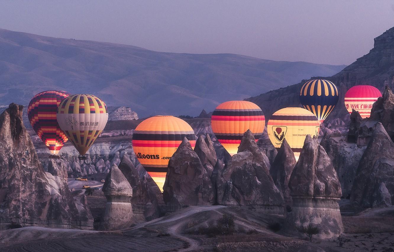 Photo wallpaper landscape, mountains, balloons, rocks, dawn, morning, backlight, Turkey, Cappadocia, tuff