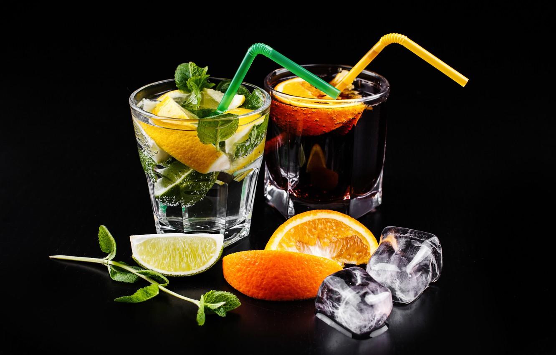 Photo wallpaper orange, ice, cocktail, lime, drink, mint, cola, cocktail, Mojito, mahito