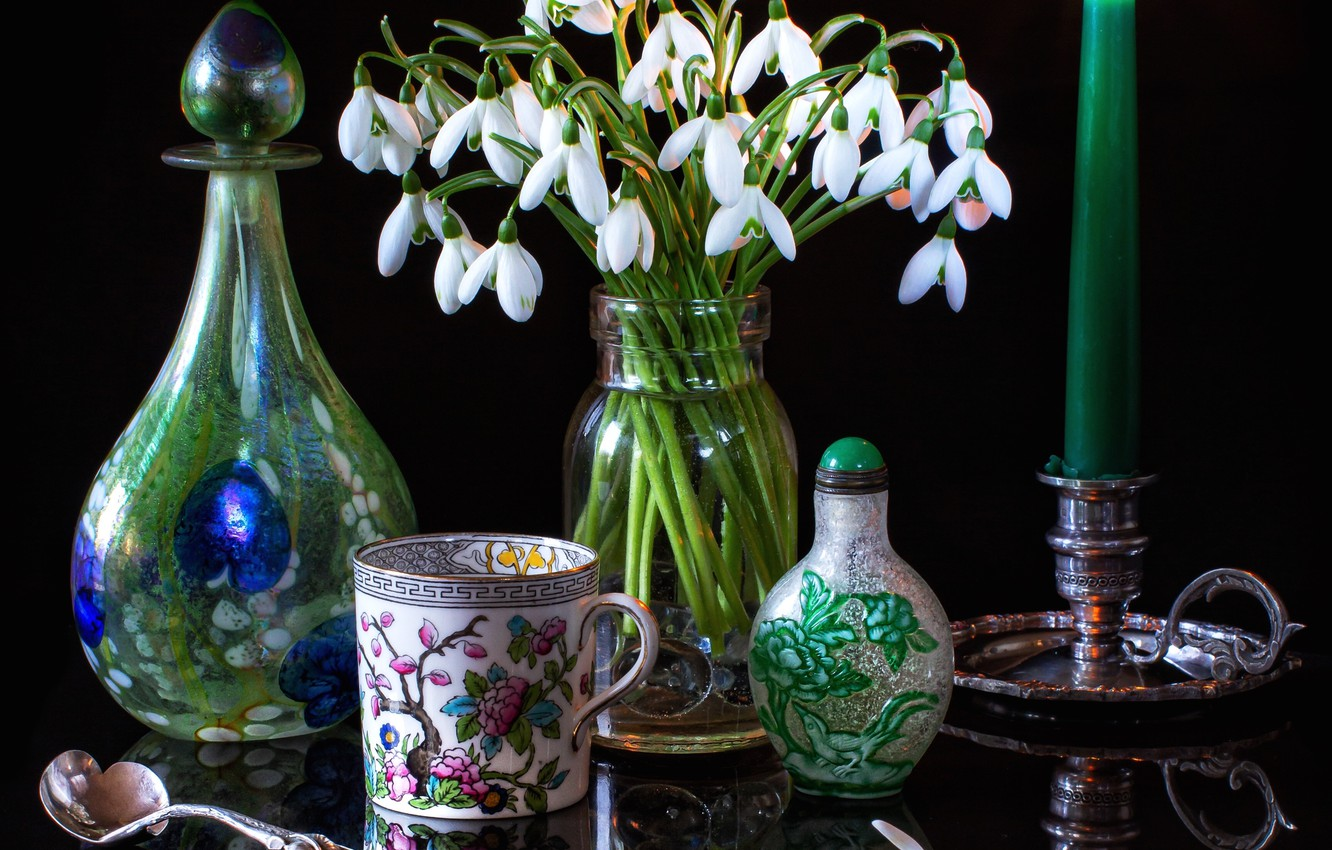 Photo wallpaper flowers, style, candle, snowdrops, mug