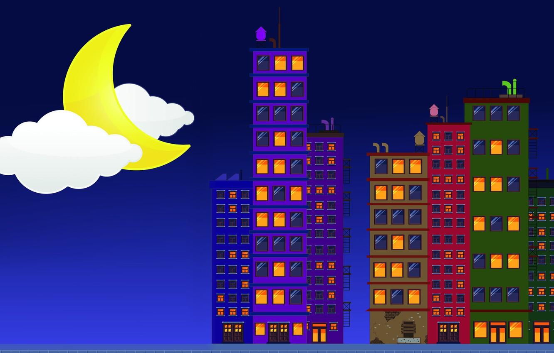 Photo wallpaper Minimalism, Night, House, The building, Background, City, A month, by Aman Mulkwad, Aman Mulkwad