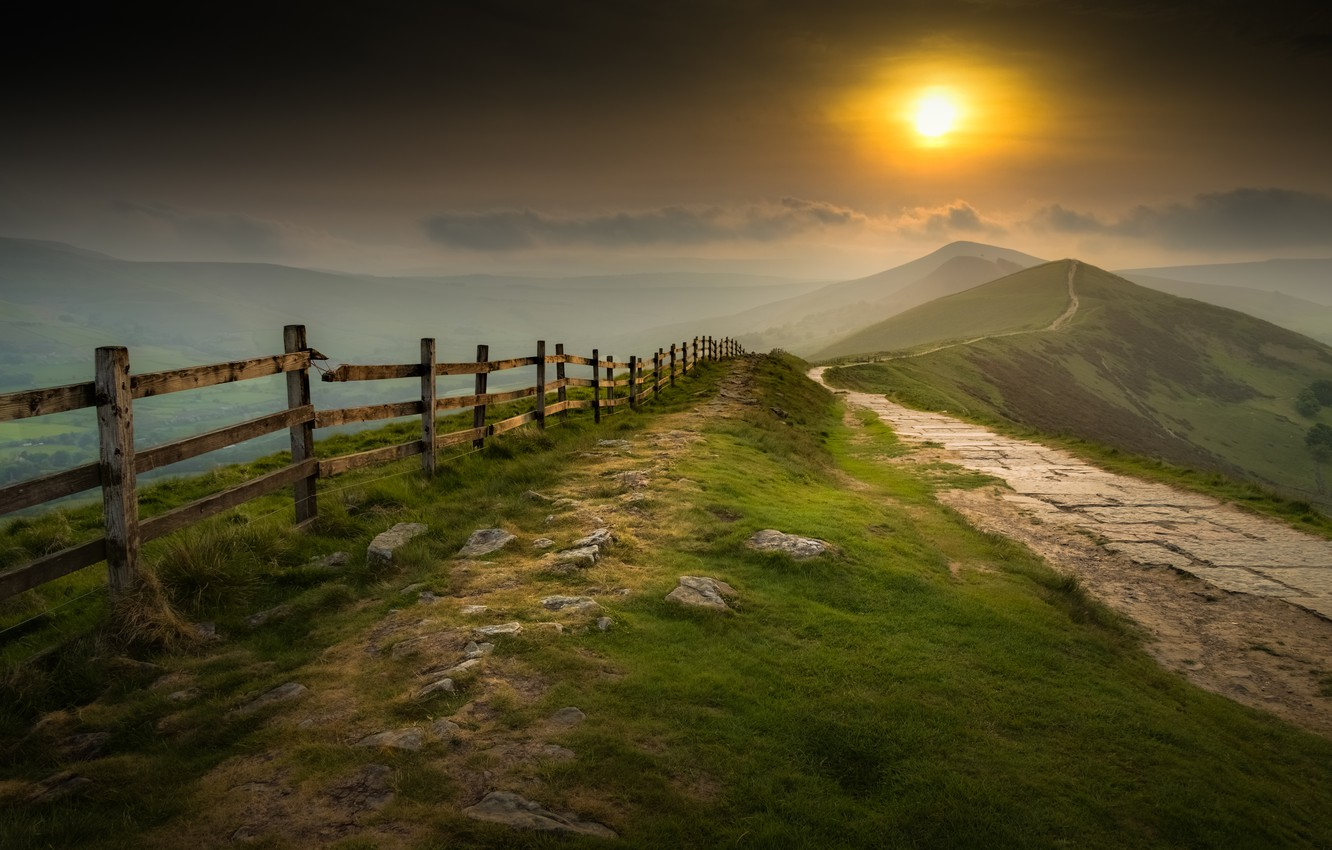 Photo wallpaper sunset, mountains, the fence