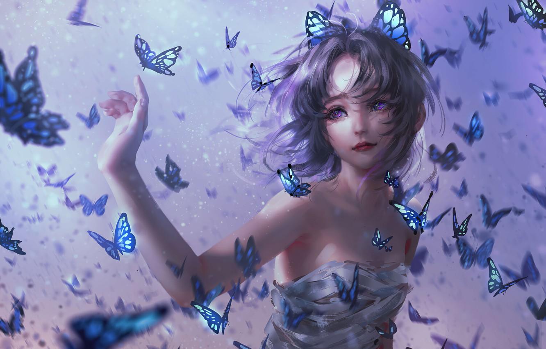 Photo wallpaper Girl, Girl, Butterfly, Hair, Kimetsu no Yaiba, Violet eyes, Purple Eyes, Kochou Shinobu, Demon Slayer: …