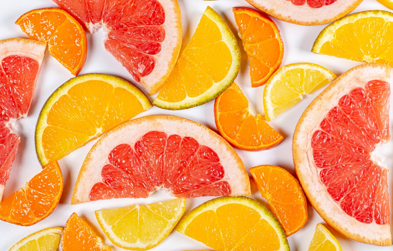 Photo wallpaper macro, citrus, slices