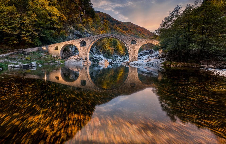 Photo wallpaper autumn, forest, mountains, bridge, river, Bulgaria, Bulgaria, Devil's Bridge, Rhodope Mountains, The Rhodope mountains, Devil's ...