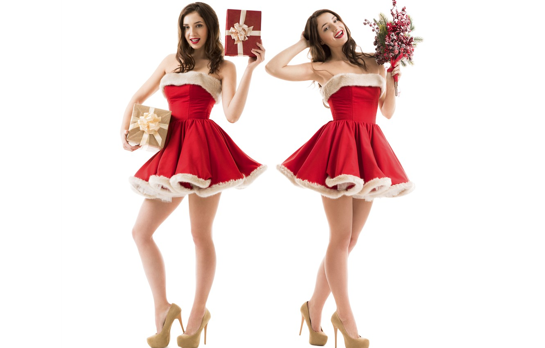 Wallpaper Girl New Year Christmas Maiden Red Girl