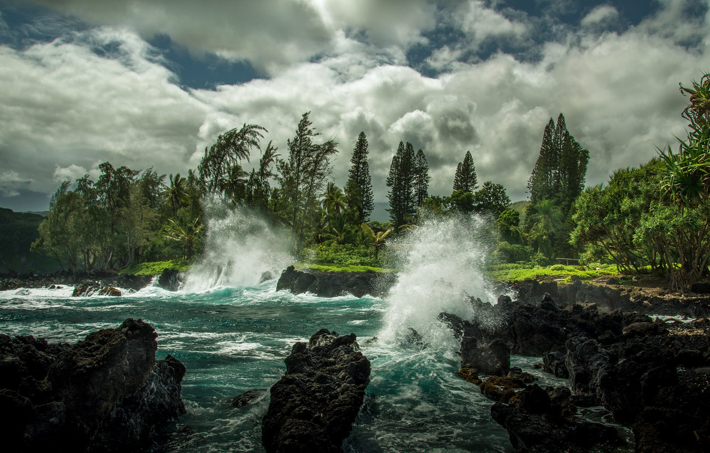 Wallpaper Wave Clouds Landscape Nature The Ocean Rocks