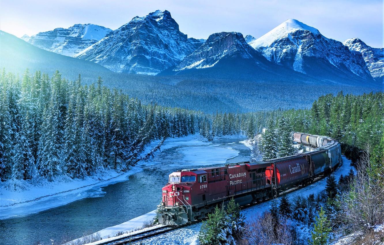 Photo wallpaper Winter, Mountains, River, Banff National Park, Tovarna
