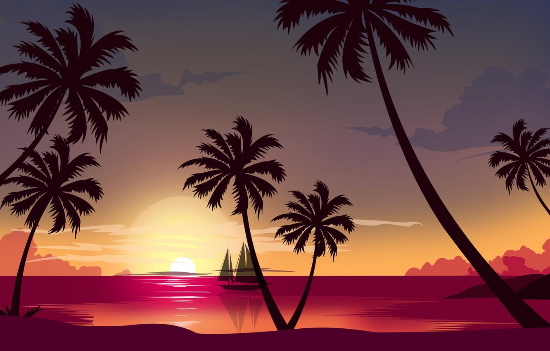 Photo wallpaper Sunset, The sun, The ocean, Sea, Beach, Minimalism, Palma, Ship, Style, Palm trees, 80s, Style, …