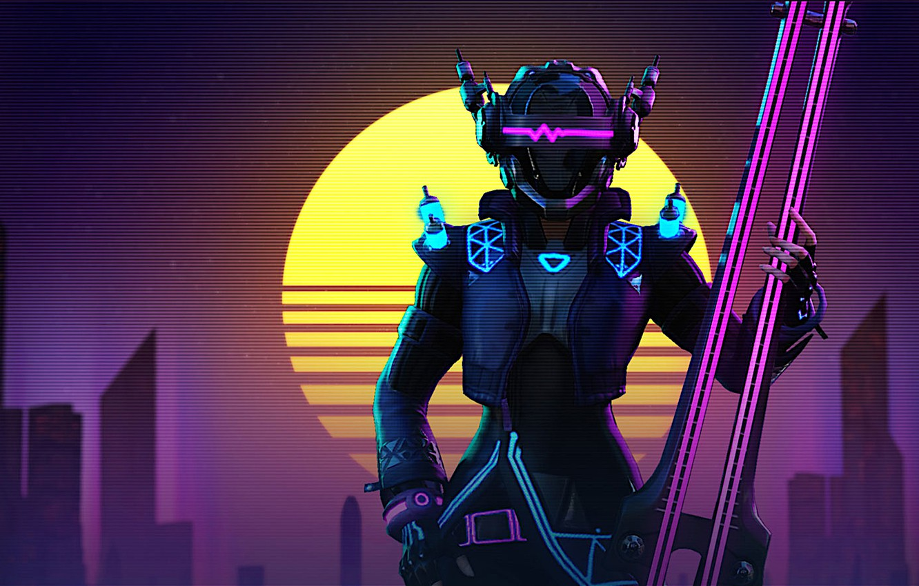Photo wallpaper style, music, styling, character, Skyforge, synthwave, retrowave