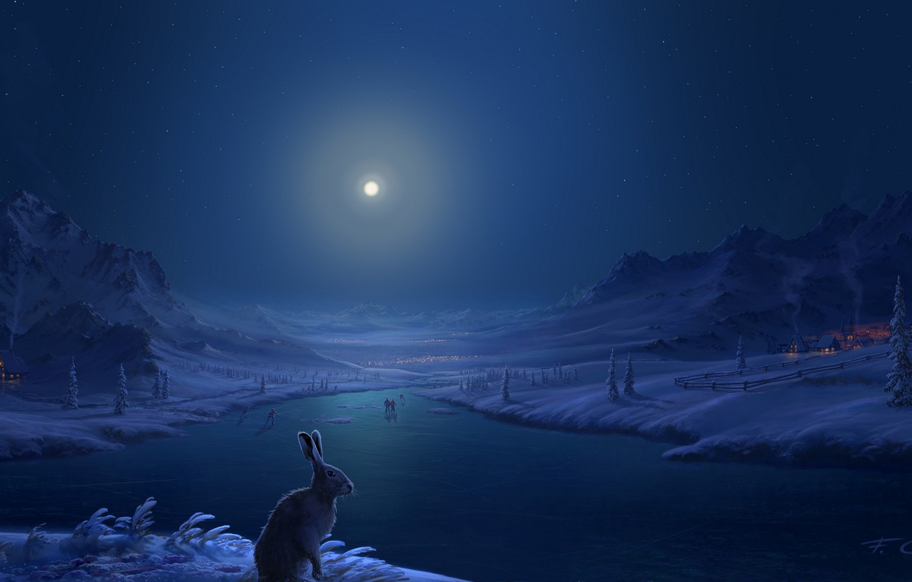 Photo wallpaper winter, snow, mountains, river, people, hare, home, The moon, village, art, moonlight, Fel-X