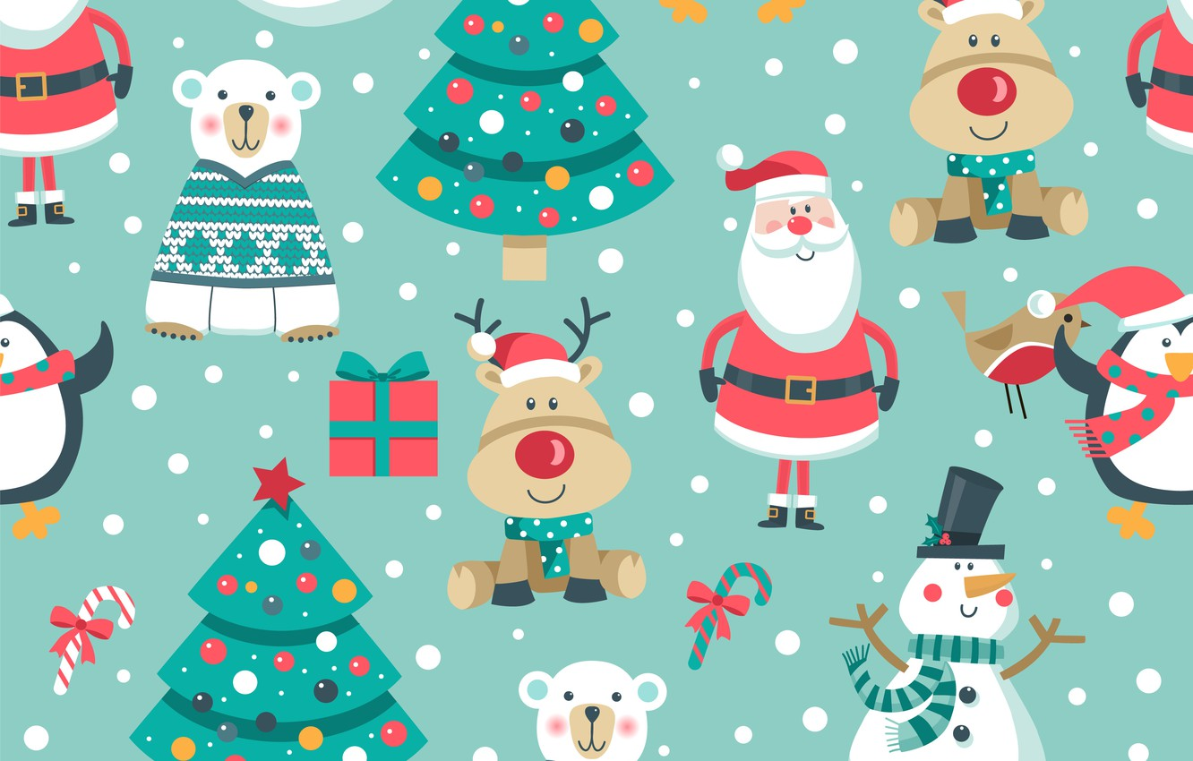 Photo wallpaper decoration, background, pattern, New Year, Christmas, snowman, Christmas, background, pattern, New Year, snowman, decoration, xmas, …