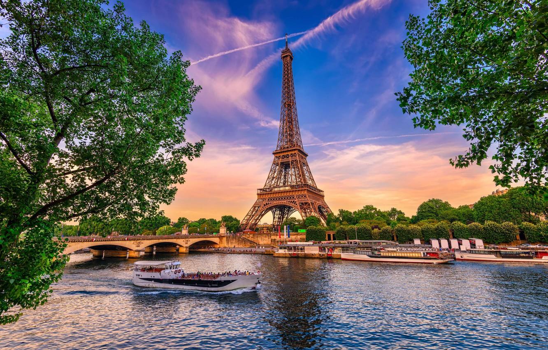 "Photo wallpaper trees, bridge, Paris, the river ""Seine"", Eiffel Bosnia"