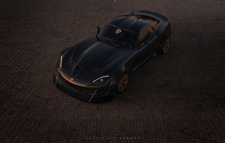 Photo wallpaper Auto, Machine, Dodge, Viper GTS, Viper, Dodge Viper, GTS, Rendering, Sports car, Rostislav Prokop, by …