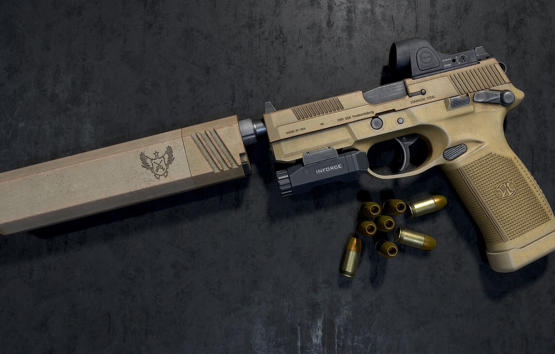Photo wallpaper gun, weapons, pistol, weapon, FN FNX-45