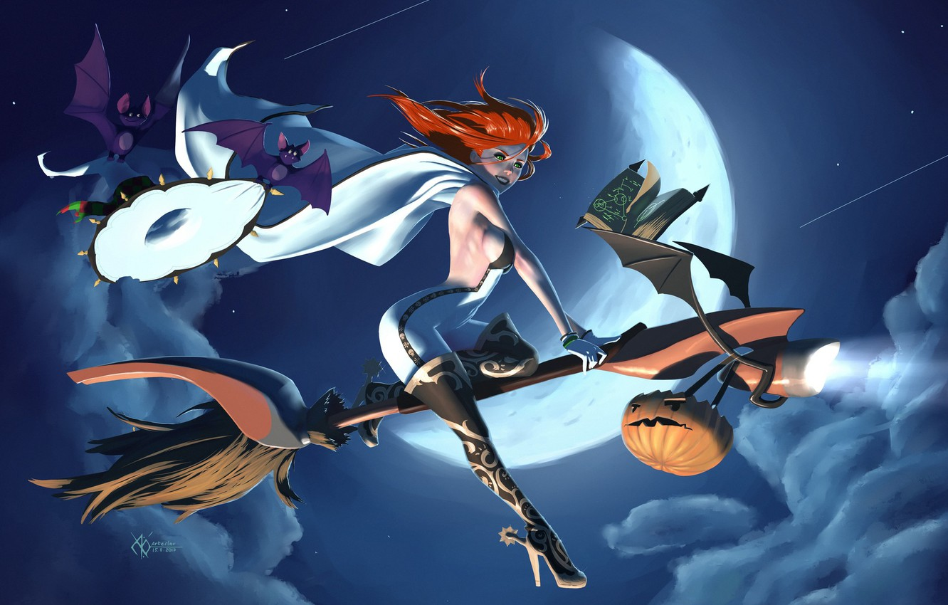 Photo wallpaper night, Halloween, red, witch, spell, bats, cloak, the full moon, jumpsuit, boots, Sabbath, Jack, witch …