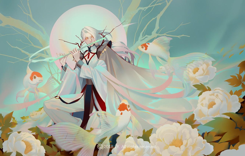 Photo wallpaper fantasy, fish, art, goldfish, flute, LY 炼 妖, Peony flower