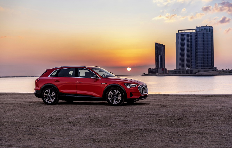 Photo wallpaper sunset, Audi, E-Tron, 2019, dark orange
