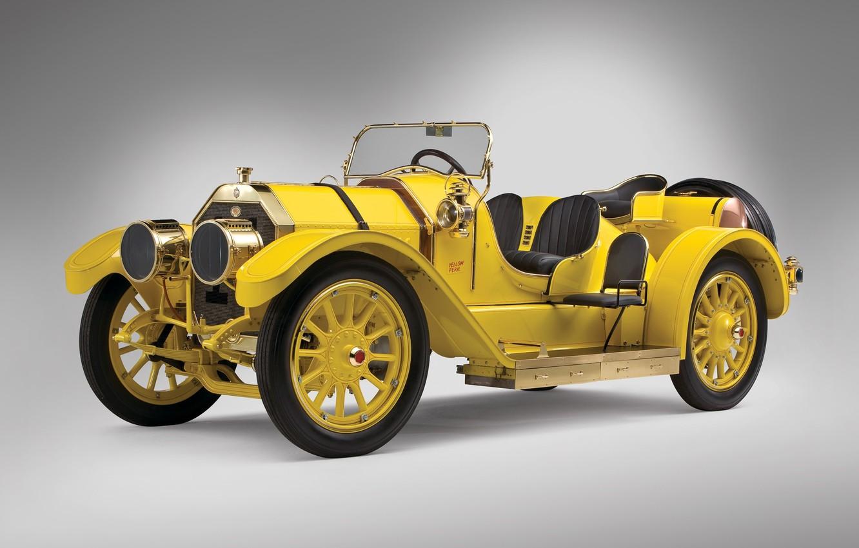 "Photo wallpaper retro, retro, 1911, Oldsmobile, Race Car, Autocrat ""Yellow Peril"", 500см3, brass era, (Series 28), rumble …"