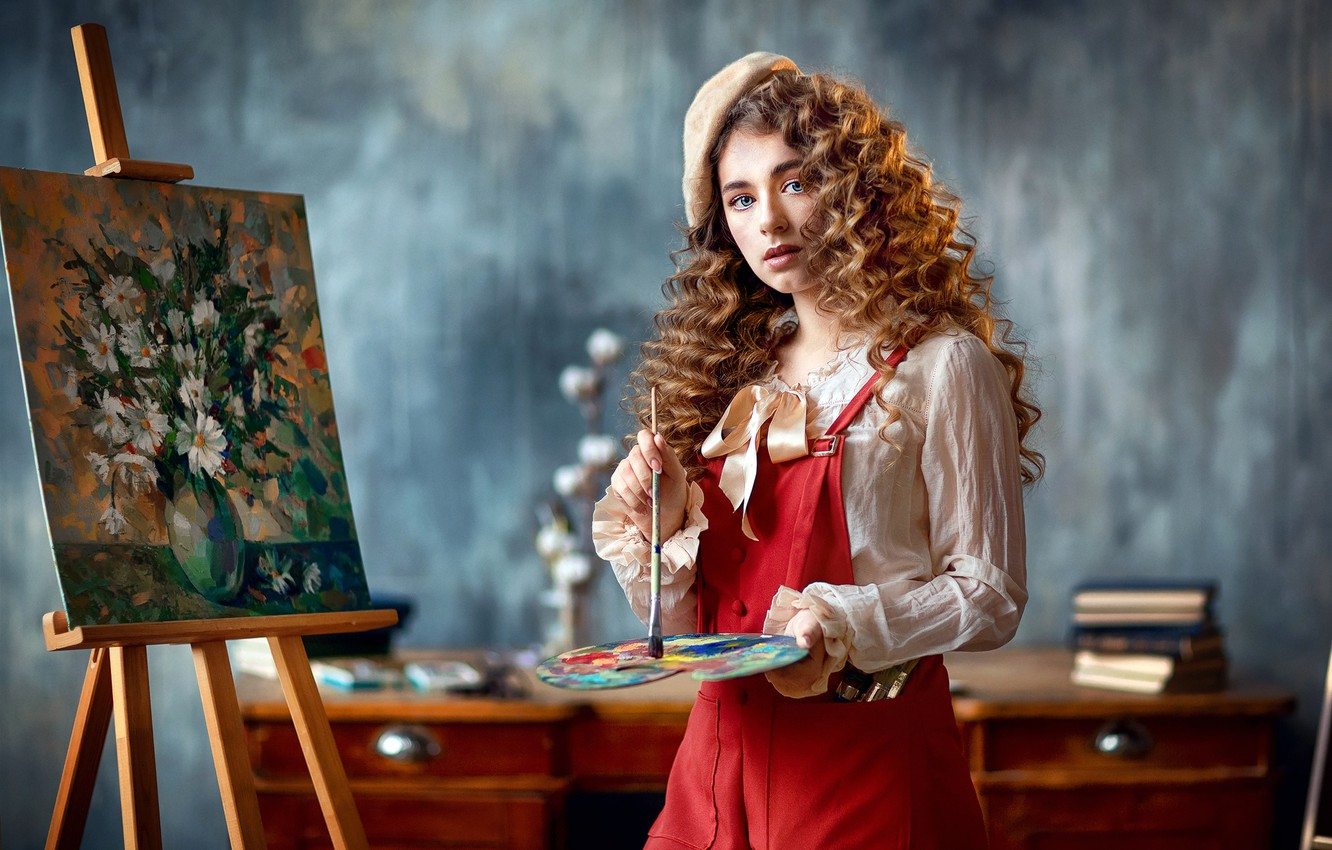 Photo wallpaper look, girl, picture, palette, curls, brush, artist, takes, easel, Anastasia Barmina