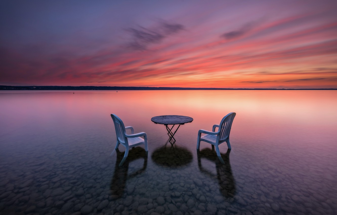 Photo wallpaper sunset, table, shore, chair