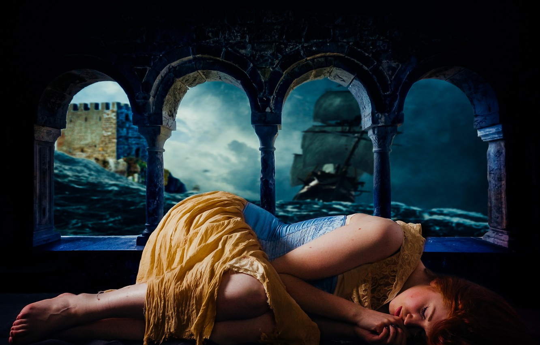 Photo wallpaper sea, wave, girl, storm, castle, the ocean, ship, sleep, fortress, cloudy, sleeping