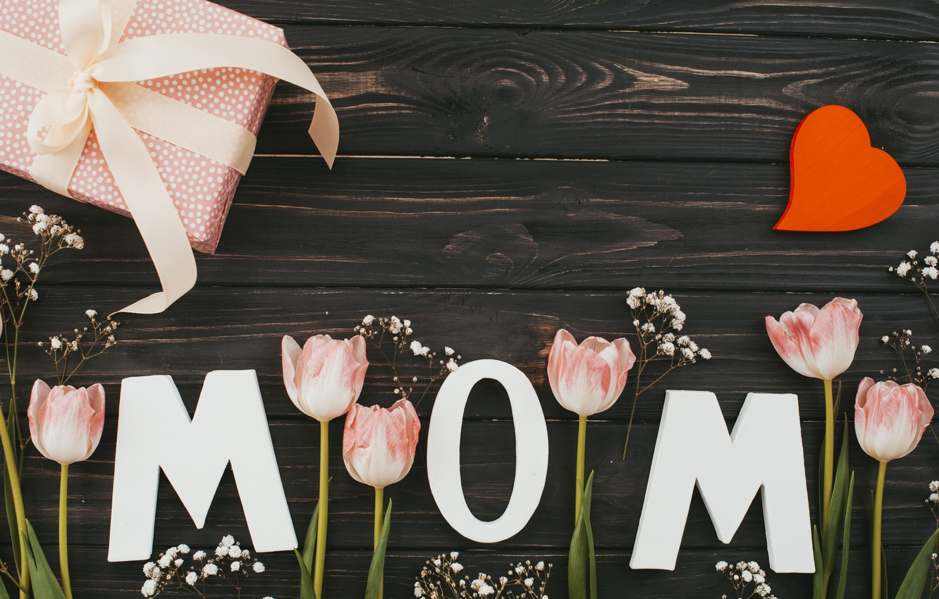 Photo wallpaper flowers, bouquet, tulips, love, pink, happy, heart, wood, pink, flowers, tulips, spring, mom, mother's day