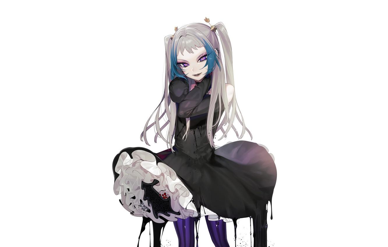 Photo wallpaper girl, background, dress, ink