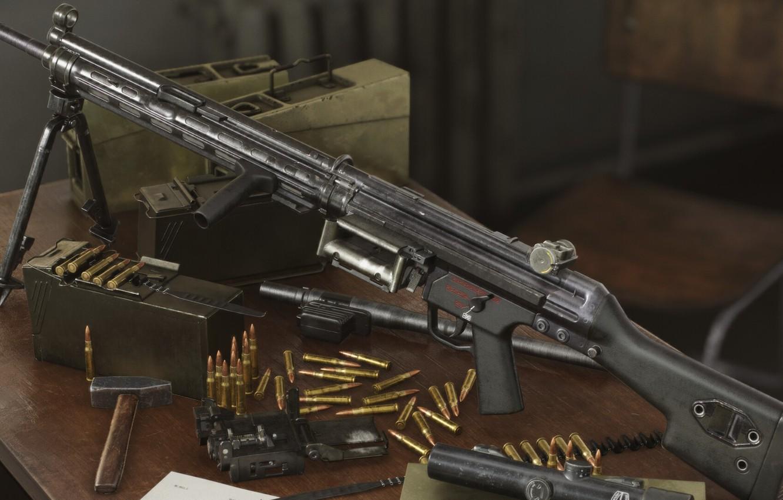 Photo wallpaper rendering, weapons, weapon, render, machine gun, machine gun, 3d Art, HK 23, Hecler and Koch