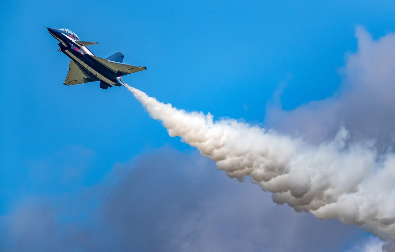 Photo wallpaper Clouds, Smoke, Fighter, Aerobatic team, Chengdu J-10, AIR FORCE CHINA, August 1st aerobatic team, Changchun …